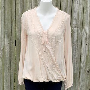 Hint of Mint XS neutral beige sheer pullover top
